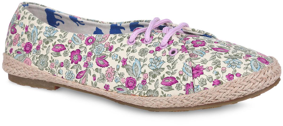 SM1258_12_01_BLACKЧудесные туфли от Spur покорят вас с первого взгляда. Модель выполнена из плотного текстиля, оформленного яркими цветочными изображениями. Подъем дополнен шнуровкой, надежно фиксирующей обувь на ноге. Подкладка и стелька, изготовленные из текстиля, гарантируют уют и предотвращают натирание. Верхняя часть подошвы по контуру оформлена плетеной джутовой нитью. Невысокий широкий каблук и подошва оснащены рифлением для лучшего сцепления с поверхностями. Стильные туфли внесут яркие нотки в ваш модный образ!
