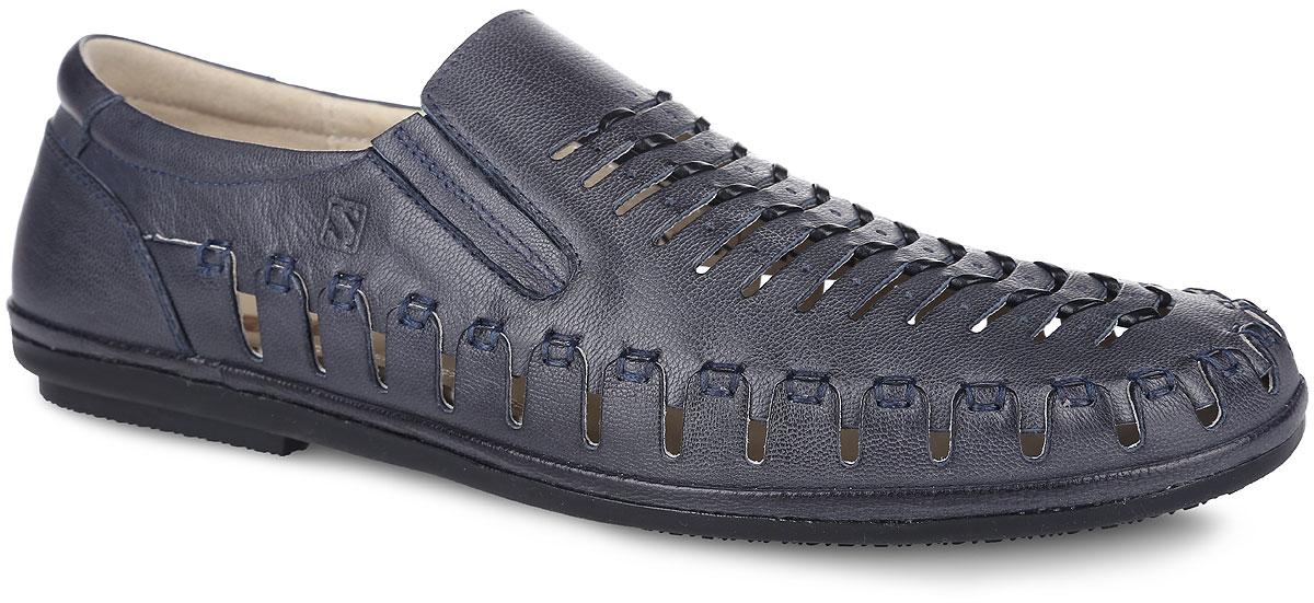 Туфли мужские. SM2964_02_09_BLUESM2964_02_09_BLUEОригинальные мужские летние туфли от Spur - отличный вариант на каждый день. Модель выполнена из натуральной кожи и оформлена по верху декоративными вырезами, обеспечивающими отличную воздухопроницаемость. Текстильные эластичные вставки в области подъема предназначены для лучшего прилегания обуви к ноге. Кожаная подкладка предотвратит натирание. Стелька из ЭВА материала с верхним покрытием из натуральной кожи обеспечит комфорт и уют. Подошва оснащена рифлением для лучшего сцепления с поверхностями. Модные туфли придутся вам по душе.