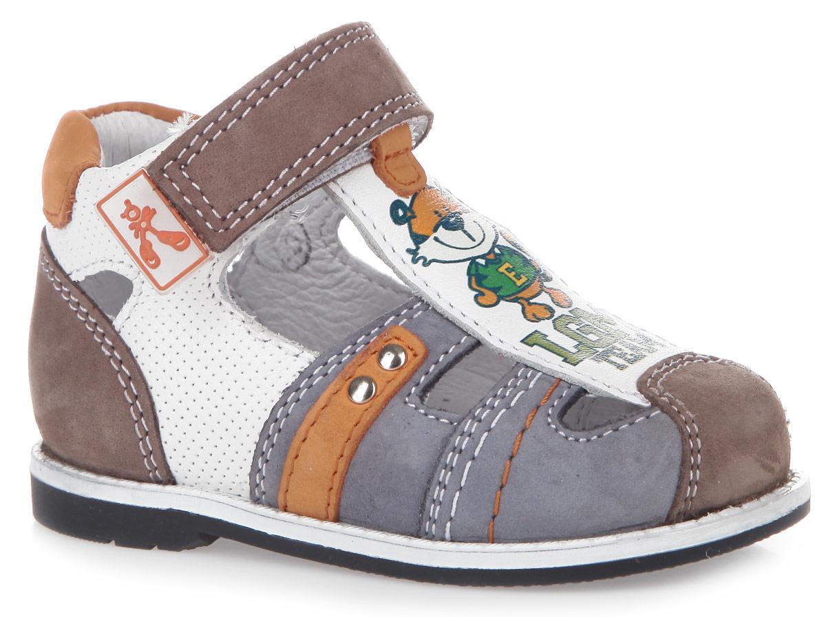 7-801311604Модные туфли от Elegami понравятся вам и вашему мальчику. Туфли изготовлены из натурального нубука и натуральной кожи, оформленной декоративным тиснением. Подъем оформлен изображением тигра и надписью. Внутренняя поверхность и стелька из натуральной кожи комфортны при ходьбе. Стелька дополнена супинатором, который обеспечивает правильное положение ноги ребенка при ходьбе и предотвращает плоскостопие. Перфорация на стельке позволяет ногам дышать. Ремешок с застежкой-липучкой прочно зафиксирует ножку ребенка. Подошва с рифлением гарантирует идеальное сцепление с любой поверхностью. Такие туфли подойдут для прогулок в жаркую погоду!