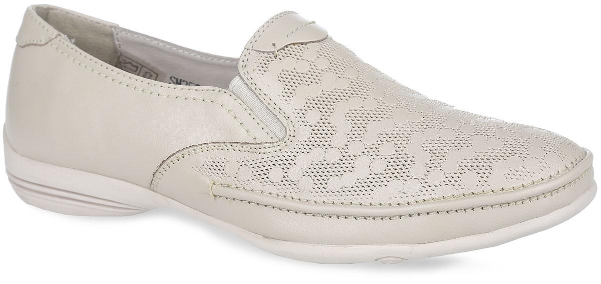 SM2526_02_22_BEIGEСтильные и невероятно удобные туфли от Spur - отличный вариант на каждый день. Модель выполнена из натуральной кожи и оформлена в передней части оригинальным тиснением. Подъем дополнен эластичными вставками из текстиля, обеспечивающими лучшую посадку обуви на ноге. Подкладка и стелька, выполненные из натуральной кожи, обеспечат уют и предотвратят натирание. Невысокий каблук и подошва оснащены рифлением для лучшего сцепления с поверхностями. Такие туфли займут достойное место среди коллекции вашей обуви.