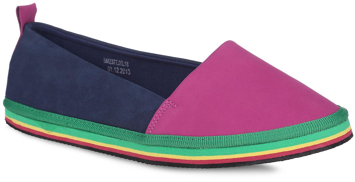 SM2377_03_18_PINKТрендовые слипоны от Spur придутся вам по душе. Модель выполнена из текстильного материала. Задник оформлен наружным ремешком и ярлычком для более удобного надевания обуви. Подкладка и стелька, изготовленные из текстиля, гарантирую комфорт и предотвращают натирание. Подошва, декорированная ярким принтом в виде полос, оснащена рифлением для лучшего сцепления с поверхностями. Стильные слипоны внесут яркие нотки в ваш модный образ!