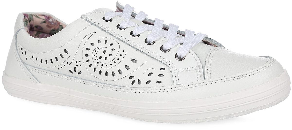477-01-O-06-CTУдобные и стильные женские кеды от Calipso покорят вас с первого взгляда! Модель выполнена из натуральной кожи с зернистой фактурой и декорирована на боковых сторонах фигурной перфорацией. Подкладка выполнена из мягкого текстиля, оформленного цветочным принтом. Классическая шнуровка обеспечивает надежную фиксацию обуви на ноге. Стелька из EVA-материала с поверхностью из натуральной кожи гарантирует максимальный комфорт при движении. Прочная резиновая подошва с рельефным рисунком обеспечивает отличное сцепление с любой поверхностью. Такие кеды займут достойное место в вашем гардеробе.