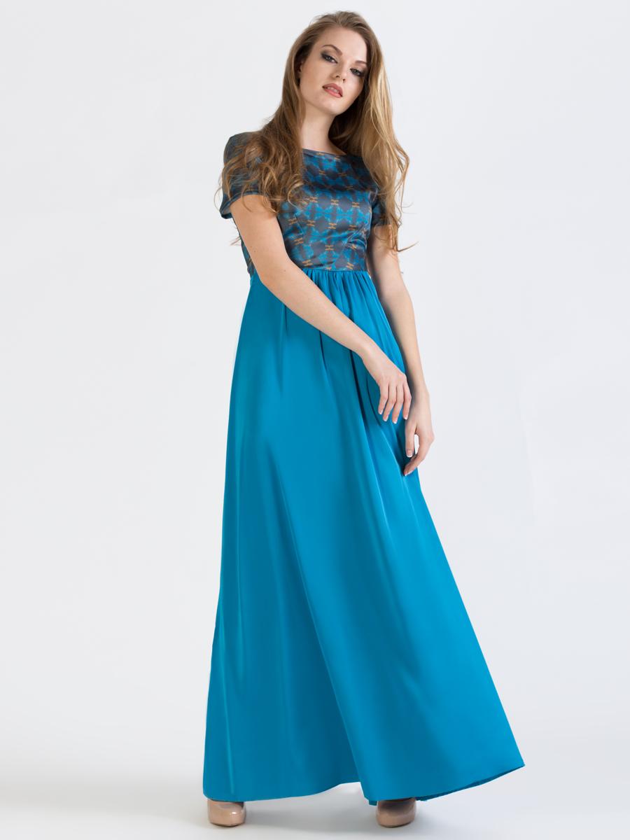 Платье. P41SP41S-11SЭлегантное платье Анна Чапман подарит вам удобство и поможет вам подчеркнуть свой вкус и неповторимый стиль. Модель, выполненная из двух видов ткани, мягкая и приятная на ощупь, хорошо вентилируется. Плотный шелковистый верх идеально подчеркивает фигуру, а легкая отрезная расклешенная юбка изящно струится. Верх украшен орнаментом, а юбка - однотонная. Модель макси длины с круглым вырезом горловины и короткими рукавами на спинке имеет V-образный вырез и застёгивается на потайную застежку-молнию. В таком наряде вы, безусловно, привлечете восхищенные взгляды окружающих.