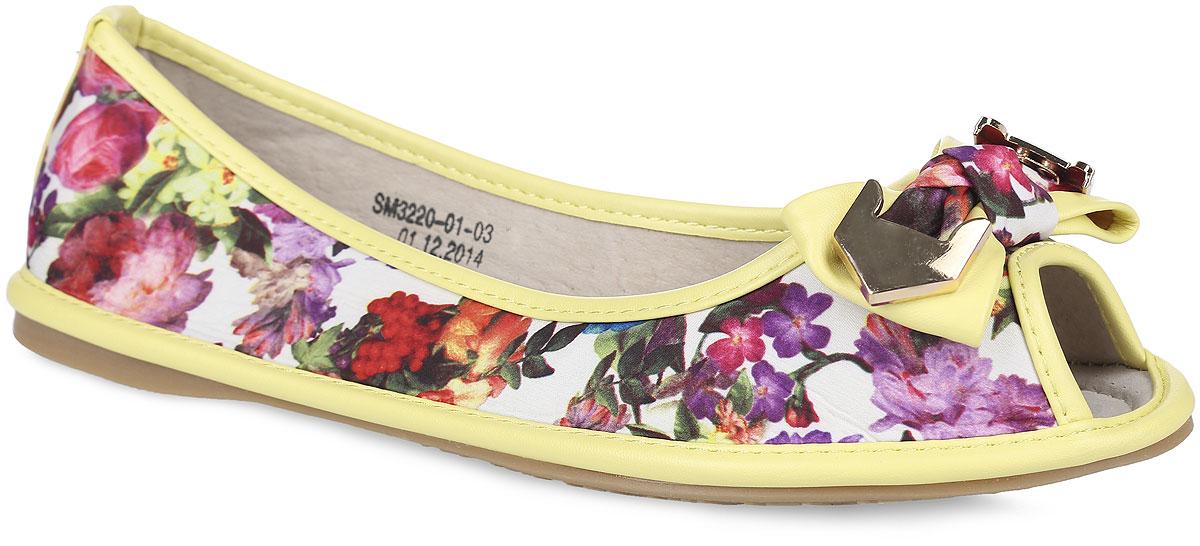 Балетки женские. SM3220_01_03_YELLOWSM3220_01_03_YELLOWВосхитительные туфли с открытым мыском от Spur придутся вам по душе. Модель выполнена из текстиля, оформленного яркими цветочными изображениями, и дополнена по ранту, канту и на заднике нашивками из искусственной кожи. Мыс обуви украшен милым бантиком, декорированным металлическими элементами. Подкладка и стелька, изготовленные из натуральной кожи, гарантируют уют и предотвращают натирание. Подошва оснащена рифлением для лучшего сцепления с поверхностями. Стильные туфли внесут яркие нотки в ваш модный образ!