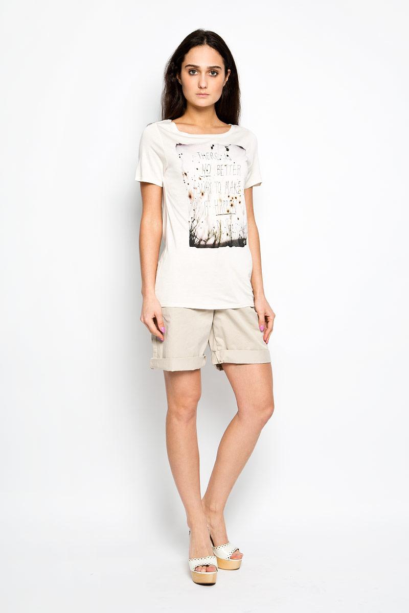 Футболка252551197Стильная женская футболка Marc O`Polo актуального фасона, выполненная из натурального хлопка, будет отлично на вас смотреться. Модель с круглым вырезом горловины и короткими рукавами оформлена оригинальным рисунком. Классический покрой, лаконичный дизайн, безукоризненное качество. Идеальный вариант для тех, кто ценит комфорт и практичность.