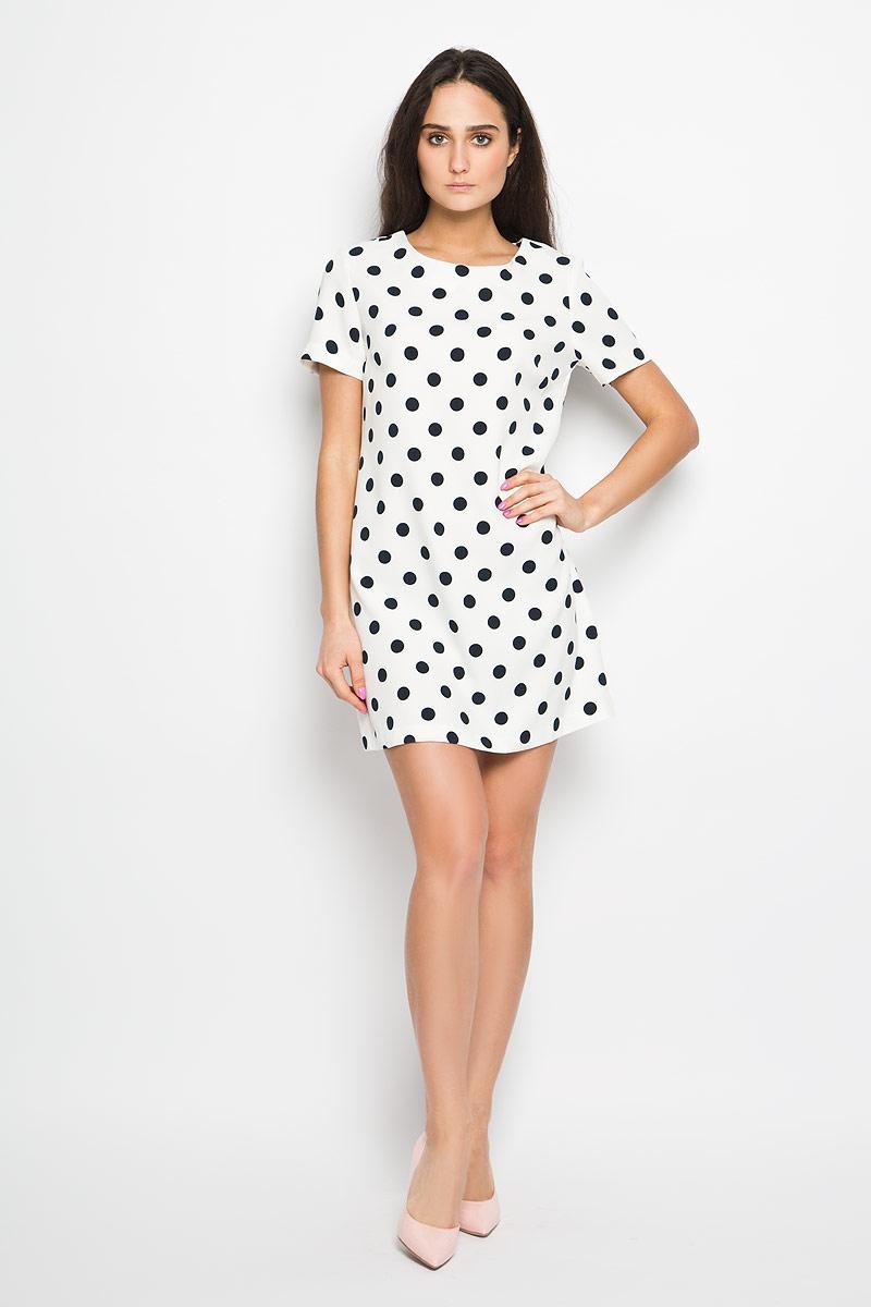Ds-117/809-6133Элегантное платье Sela выполнено из эластичного полиэстера. Такое платье обеспечит вам комфорт и удобство при носке. Модель с короткими рукавами и круглым вырезом горловины выгодно подчеркнет все достоинства вашей фигуры. Платье застегивается сзади на металлическую застежку-молнию. Это модное и удобное платье станет превосходным дополнением к вашему гардеробу, оно подарит вам удобство и поможет вам подчеркнуть свой вкус и неповторимый стиль.