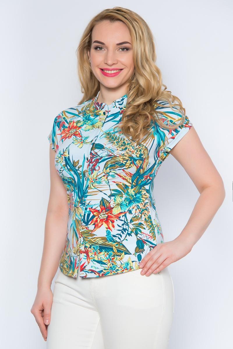 SS16-BGUZ-500аЯркая женская блуза BeGood выполнена из эластичного хлопка. Блузка с воротником-стойкой и короткими цельнокроеными рукавами застегивается спереди на пуговицы по всей длине. Модель оформлена тропическим принтом.