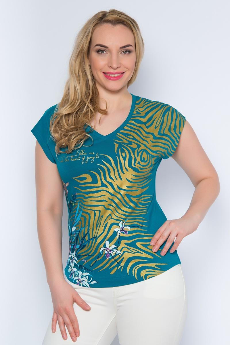 SS16-BGUZ-504Стильная женская футболка BeGood изготовлена из эластичного хлопка. Приталенная модель с V-образным вырезом горловины и короткими цельнокроенными рукавами оформлена оригинальным принтом и декорирована стразами. Передняя часть футболки немного удлинена.