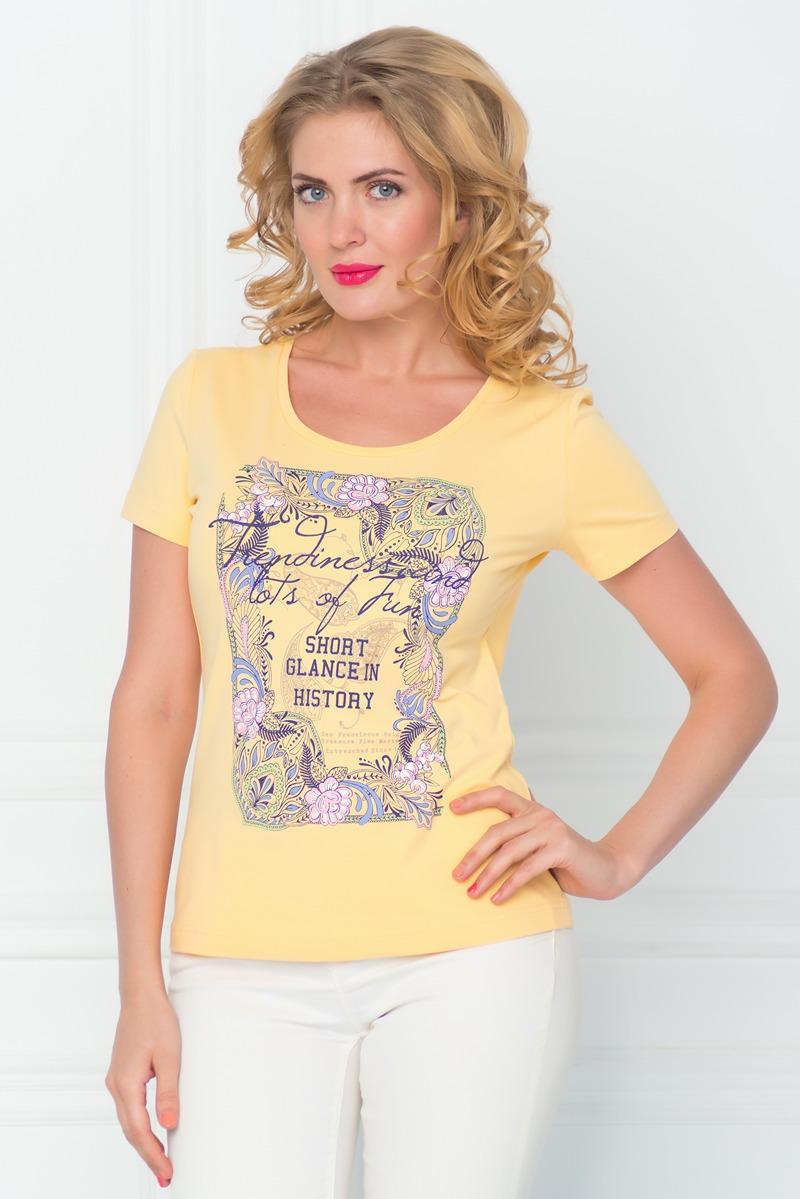 ФутболкаSS16-BGUZ-547Стильная женская футболка BeGood изготовлена из эластичного хлопка. Приталенная модель с круглым вырезом горловины и короткими рукавами на груди оформлена оригинальным принтом и декорирована стразами.