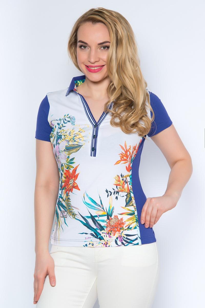 ПолоSS16-BGUZ-545Стильная женская футболка-поло BeGood изготовлена из эластичного хлопка. Модель с короткими рукавами и отложным воротником застегивается сверху на три пуговицы. Воротник и планка выполнены из эластичной резинки. Спереди изделие оформлено цветочным принтом.