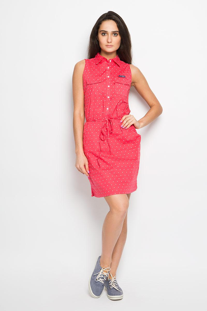 Платье Super Bonehead II Sleeveless Dress. 15776111577611-464Элегантное платье Columbia Super Bonehead II Sleeveless Dress выполнено из натурального хлопка. Такое платье обеспечит вам комфорт и удобство при носке. Модель приталенного кроя с отложным воротником застегивается на пластиковые пуговицы. На груди платье украшено хлястиком на липучке с фирменной нашивкой. Дополнена модель двумя накладными карманами на липучках и двумя втачными карманами. Оформлено изделие принтом в горох. В комплект входит тонкий пояс. Это модное и удобное платье станет превосходным дополнением к вашему гардеробу, оно подарит вам удобство и поможет вам подчеркнуть свой вкус и неповторимый стиль.