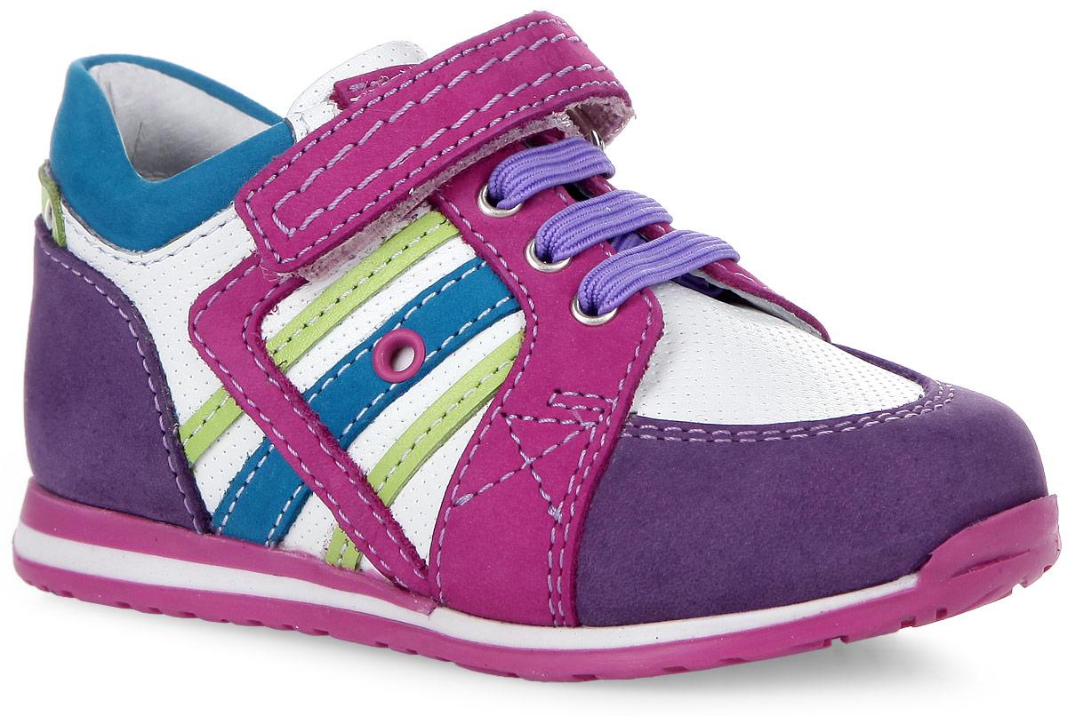 7-806111603Модные полуботинки от Elegami не оставят равнодушной вашу девочку! Модель, выполненная из натуральной кожи и натурального нубука, оформлена декоративной перфорацией. Ремешок на застежке-липучке и эластичная шнуровка на подъеме обеспечивают надежную фиксацию обуви на ноге. Подкладка из натуральной кожи позволяет ножкам дышать. Стелька ЭВА с поверхностью из натуральной кожи дополнена супинатором, который обеспечивает правильное положение ноги ребенка при ходьбе, предотвращает плоскостопие. Рифление на подошве гарантирует отличное сцепление с любой поверхностью. Яркие и практичные полуботинки - незаменимая вещь в гардеробе вашей девочки.