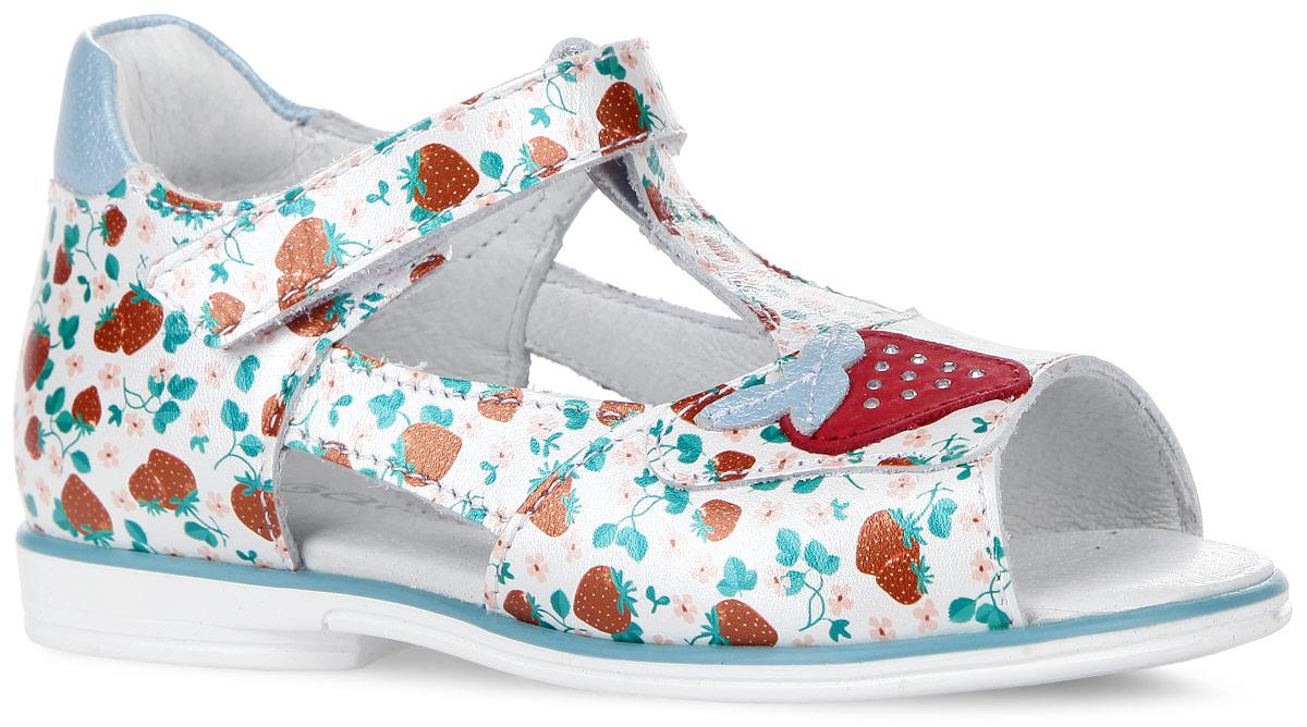 6-805781601Изумительные сандалии от Elegami покорят вашу принцессу с первого взгляда. Модель изготовлена из натуральной кожи и оформлена принтом с изображением земляничек. Мыс декорирован аппликацией в виде ягодки, украшенной стразами. Ремешок с застежкой-липучкой прочно зафиксирует обувь на ноге. Кожаная стелька дополнена супинатором, который обеспечивает правильное положение ноги ребенка при ходьбе, предотвращает плоскостопие. Перфорация на стельке позволяет ножкам дышать. Гибкая подошва с рифлением гарантирует идеальное сцепление с любой поверхностью. Модные и практичные сандалии - необходимая вещь в гардеробе каждой девочки!