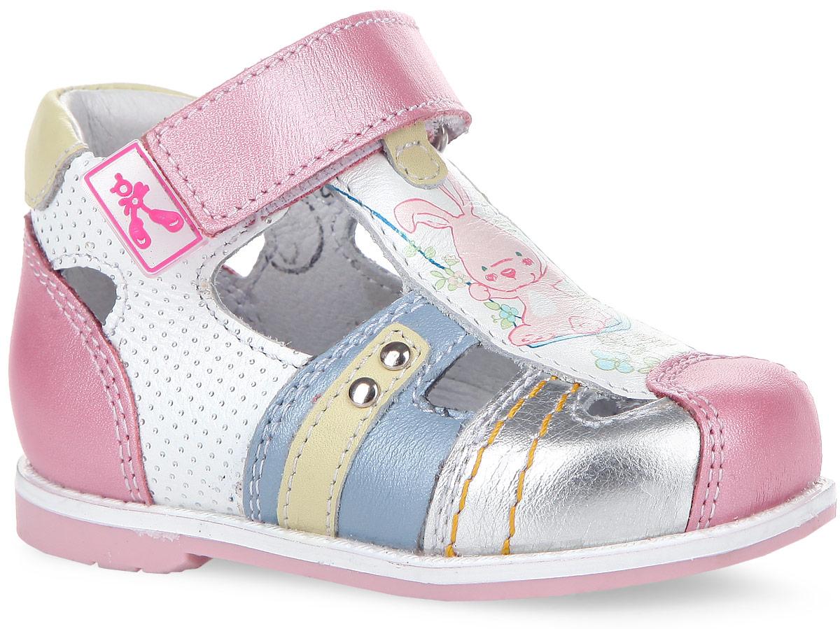 7-801311602Прелестные сандалии от Elegami покорят вашу принцессу с первого взгляда. Модель изготовлена из натуральной кожи и оформлена на боковых сторонах узором в мелкий горошек, спереди - принтом с изображением милого зайки. Ремешок с застежкой-липучкой, дополненный прорезиненной нашивкой с логотипом бренда, прочно зафиксирует обувь на ноге. Подкладка из натуральной кожи позволяет ножкам дышать. Стелька ЭВА с поверхностью из натуральной кожи дополнена супинатором, который обеспечивает правильное положение ноги ребенка при ходьбе, предотвращает плоскостопие. Гибкая подошва с рифлением гарантирует идеальное сцепление с любой поверхностью. Модные и практичные сандалии - необходимая вещь в гардеробе каждой девочки!