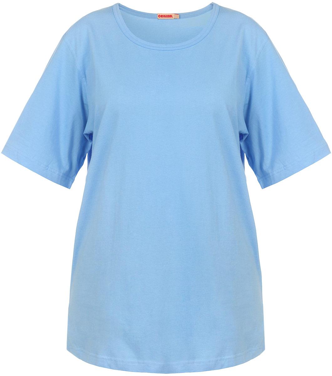 Футболка женская. М-28М-281Женская футболка Original придется вам по душе. Модель изготовлена из натурального хлопка, очень мягкая, тактильно приятная, не сковывает движения и хорошо пропускает воздух. Футболка с круглым вырезом горловины и короткими рукавами выполнена в лаконичном дизайне. Нижняя часть модели по боковому шву оформлена небольшими разрезами. Такая футболка идеальный вариант для тех, кто ценит комфорт и практичность.