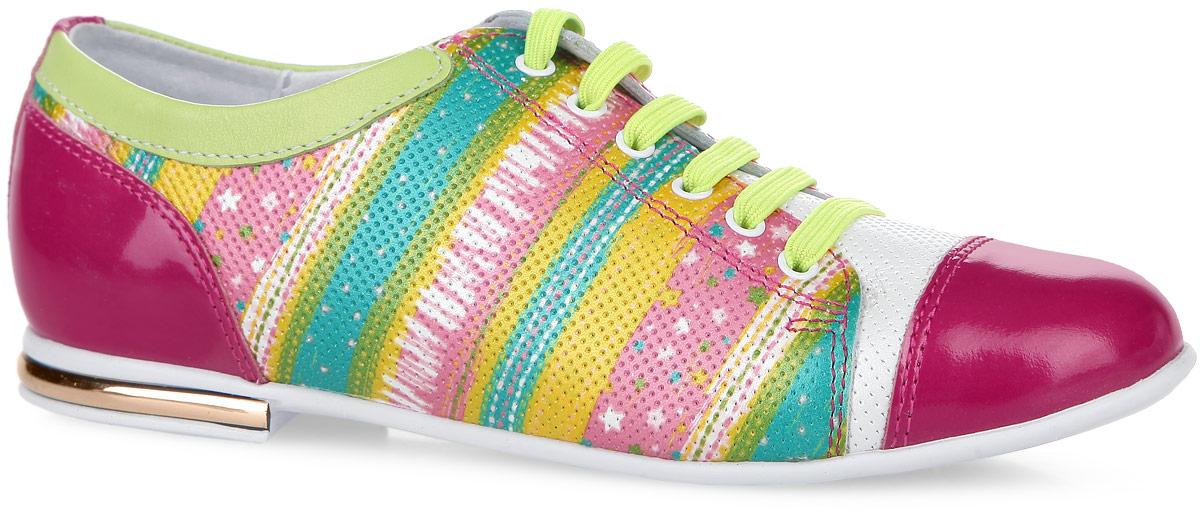 5-517461601Невероятно модные полуботинки от Elegami покорят вашу девочку с первого взгляда! Модель выполнена из натуральной кожи со вставками из натурального лака. Обувь оформлена ярким принтом, декоративной перфорацией, на каблуке - вставкой, стилизованной под металл. Эластичная шнуровка на подъеме обеспечивает надежную фиксацию обуви. Подкладка из натуральной кожи позволяет ножкам дышать. Стелька ЭВА с поверхностью из натуральной кожи дополнена супинатором, который обеспечивает правильное положение ноги ребенка при ходьбе, предотвращает плоскостопие. Подошва с рифленым рисунком в виде бабочек гарантирует отличное сцепление с любой поверхностью. Стильные и практичные полуботинки - незаменимая вещь в гардеробе вашей девочки.