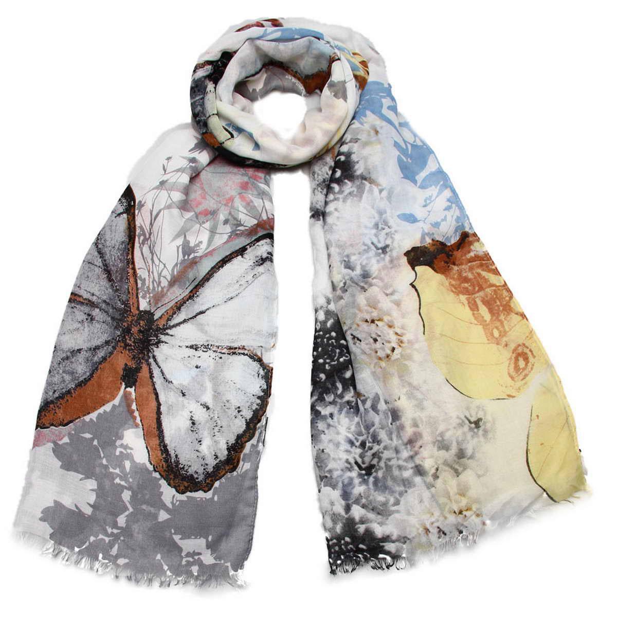 Палантин3415301-05Элегантный палантин Venera согреет вас в непогоду и станет достойным завершением вашего образа. Палантин изготовлен из вискозы. Он украшен тонкой бахромой по краю и оформлен принтом в виде крупных бабочек на фоне цветов. Такой палантин превосходно дополнит любой наряд и подчеркнет ваш изысканный вкус. Легкий и изящный палантин принесет в ваш образ утонченность и шарм, и непременно вызовет восхищение окружающих.