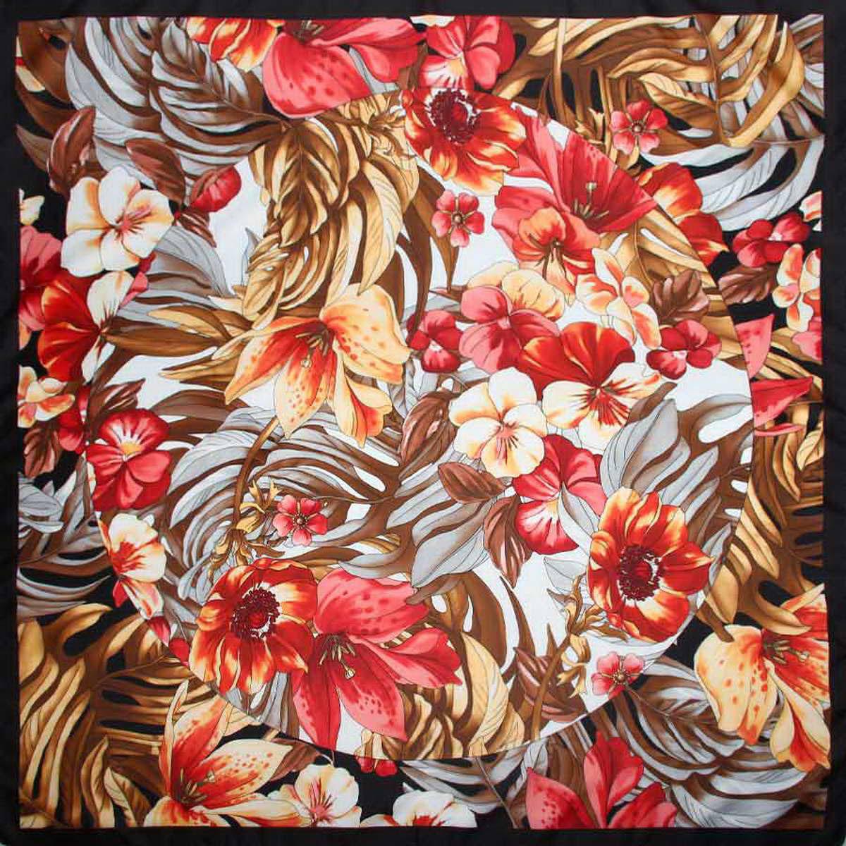 3904972-12Стильный женский платок Venera станет великолепным завершением любого наряда. Платок, изготовленный из полиэстера, оформлен цветочный принтом. Классическая квадратная форма позволяет носить платок на шее, украшать им прическу или декорировать сумочку. Легкий и приятный на ощупь платок поможет вам создать изысканный женственный образ. Такой платок превосходно дополнит любой наряд и подчеркнет ваш неповторимый вкус и элегантность.