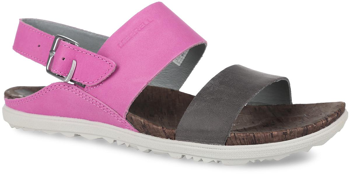 Сандалии женские Around Town Backstrap. 5954259542Кожаные сандалии Around Town Backstrap от Merrell - это обувь, в которой не жарко летом. Подкладка из натуральной кожи с антибактериальной пропиткой M Select Fresh препятствует возникновению специфического запаха и обеспечивает оптимальный микроклимат внутри обуви. Промежуточная подошва, формованная под давлением из EVA, с технологией M Select Move обеспечивает комфорт стопы во время ходьбы, нейлоновый супинатор поддерживает свод стопы и защищает ее от ударов. Износостойкая подошва M Select Grip создает устойчивость на любой поверхности. Система фиксации - клипса.
