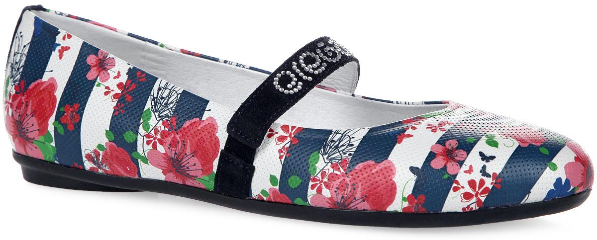 3/4-518631601Восхитительные туфли от Elegami очаруют вашу дочурку с первого взгляда! Модель выполнена из натуральной кожи и оформлена ярким принтом, на ремешке - названием бренда, исполненным из стразов. Ремешок на подъеме, дополненный резинками, отвечает за надежную фиксацию изделия на ноге. Стелька EVA с поверхностью из натуральной кожи оснащена супинатором, который обеспечивает правильное положение ноги ребенка при ходьбе, предотвращает плоскостопие. Подошва с рифлением гарантирует отличное сцепление с поверхностью. Чудесные туфли прекрасно дополнят любой наряд вашей модницы.