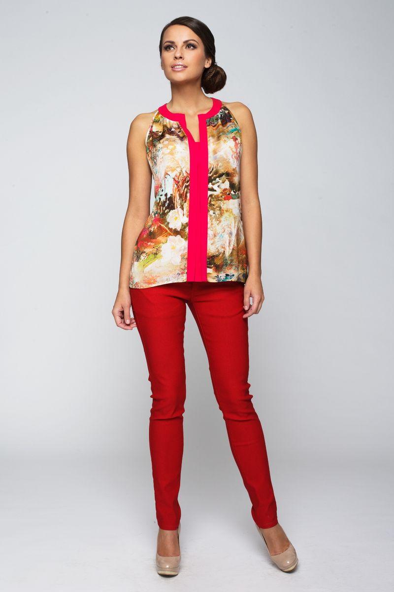 Блузка жен. 22332233Легкая блузка без рукавов отлично подойдет для жаркого дня. Модель свободного покроя с V-образным вырезом. Модель станет замечательным дополнением к Вашему гардеробу.