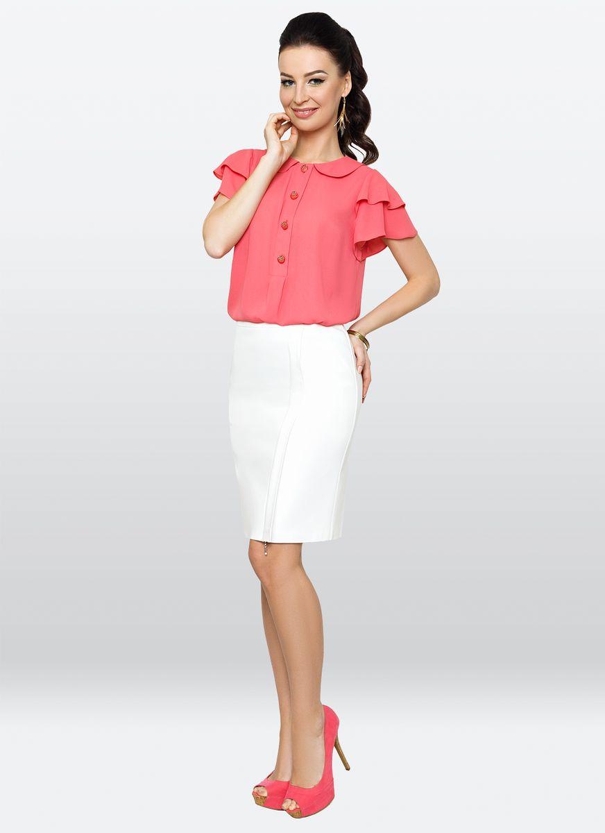 Блузка жен. 27722772Изысканная блузка, выполненная из тонкого материала, позволит Вам создать чувственный образ. Модель с отложным округлым воротничком, дополнена оригинальной линией пуговиц до середины модели.