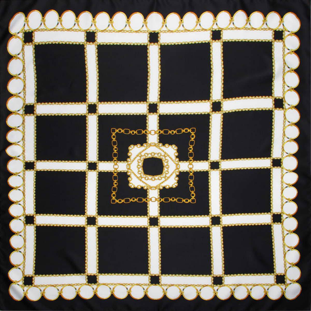 Платок женский. 39147833914783-02Стильный женский платок Venera станет великолепным завершением любого наряда. Платок изготовлен из полиэстера и оформлен принтом в виде цепей и колец. Классическая квадратная форма позволяет носить платок на шее, украшать им прическу или декорировать сумочку. Легкий и приятный на ощупь платок поможет вам создать изысканный женственный образ. Такой платок превосходно дополнит любой наряд и подчеркнет ваш неповторимый вкус и элегантность.