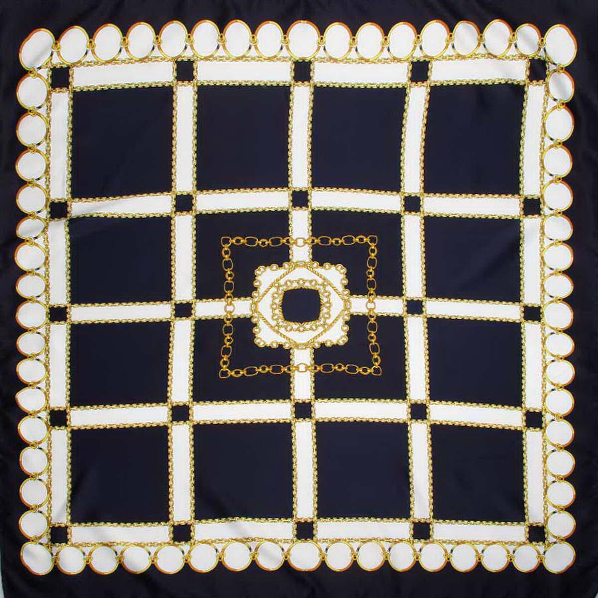 3914783-02Стильный женский платок Venera станет великолепным завершением любого наряда. Платок изготовлен из полиэстера и оформлен принтом в виде цепей и колец. Классическая квадратная форма позволяет носить платок на шее, украшать им прическу или декорировать сумочку. Легкий и приятный на ощупь платок поможет вам создать изысканный женственный образ. Такой платок превосходно дополнит любой наряд и подчеркнет ваш неповторимый вкус и элегантность.
