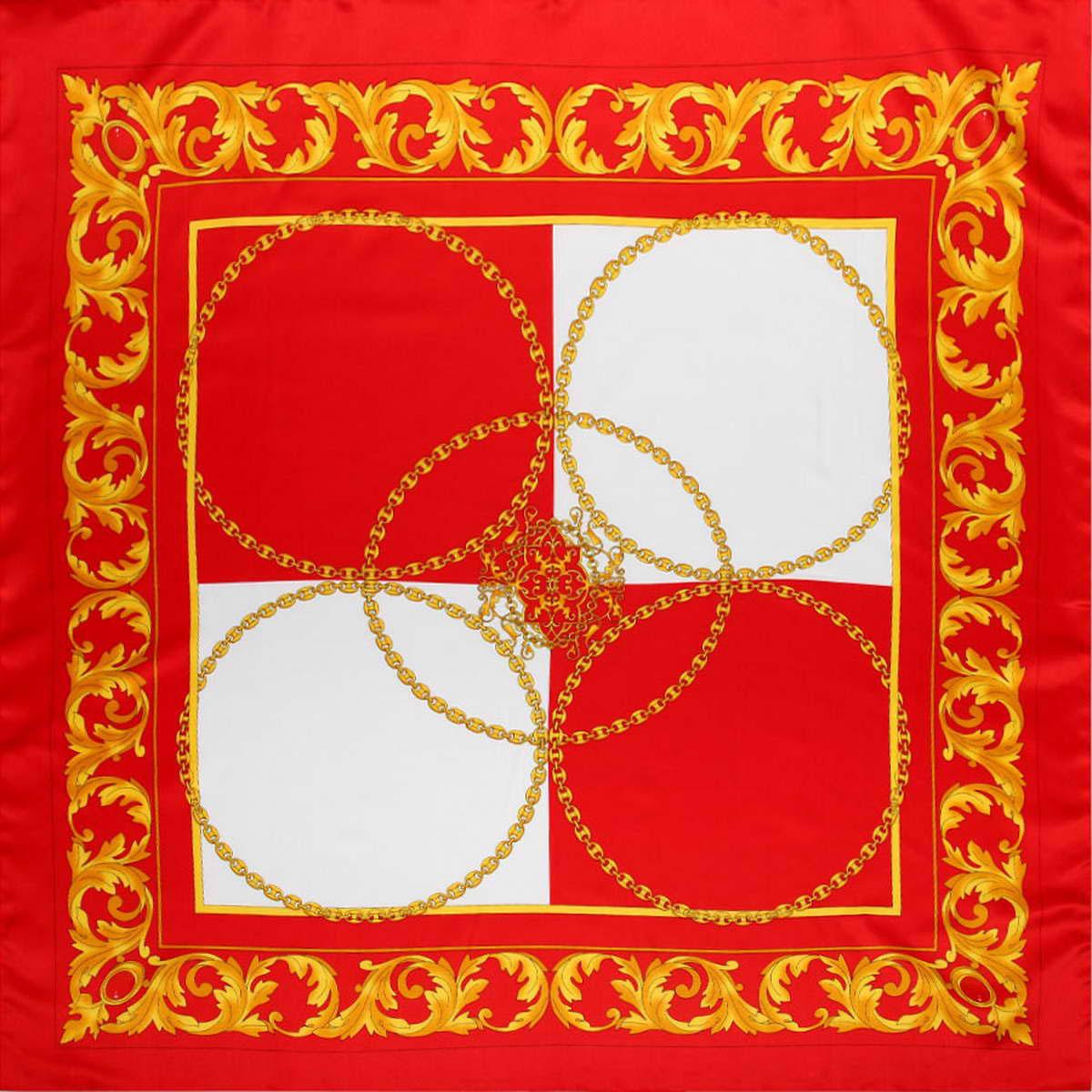 Платок женский. 39149833914983-04Стильный женский платок Venera станет великолепным завершением любого наряда. Платок, изготовленный из полиэстера, оформлен оригинальным принтом с изображением цепей. Классическая квадратная форма позволяет носить платок на шее, украшать им прическу или декорировать сумочку. Легкий и приятный на ощупь платок поможет вам создать изысканный женственный образ. Такой платок превосходно дополнит любой наряд и подчеркнет ваш неповторимый вкус и элегантность.