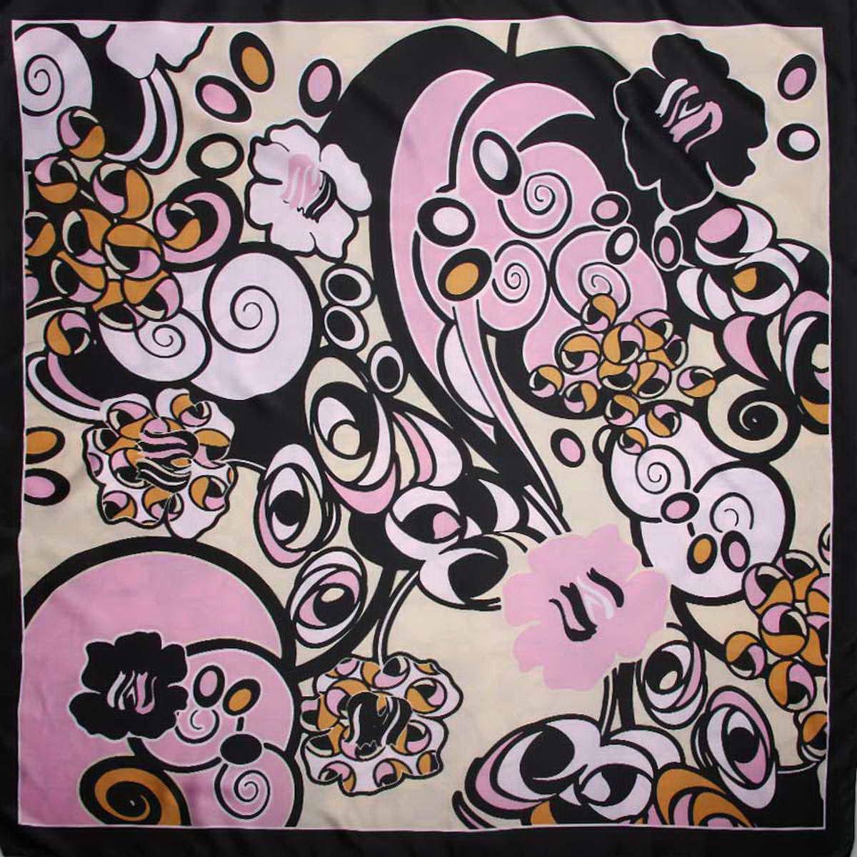 3915183-11Яркий женский платок Venera изготовлен из легкого и нежного полиэстера, станет глотком свежести и активности при любом вашем наряде. Сочетание цветов очень оригинальное и безупречное, а рисунки с геометрическими элементами создают эффект гипнотического поля, которое завораживает собою и дарит ощущение невероятного и космического. Такой платок станет неотъемлемым элементом вашего гардероба. Классическая квадратная форма позволяет носить платок на шее, украшать им прическу или декорировать сумочку. Платок Venera превосходно дополнит любой наряд и подчеркнет ваш неповторимый вкус и элегантность.