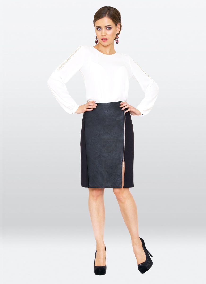 Юбка жен. 33Классическая юбка-карандаш, дополнена вставкой из эко-кожи. Боковая молния, до середины бедра, эффектно смотрится и зрительно вытягивает рост.