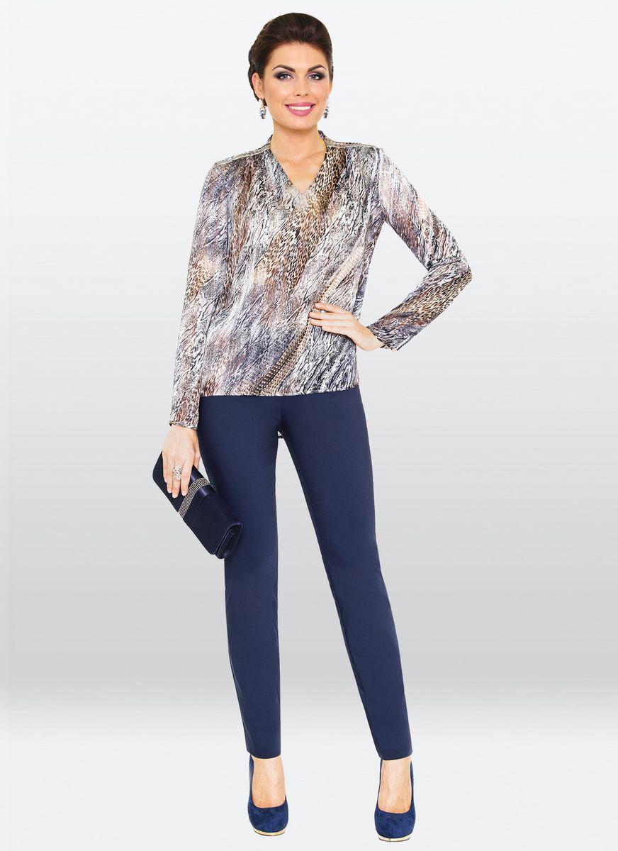 Блузка жен. 36333633Элегантная блузка оригинальной расцветки. Изделие прямого кроя, с V-образным вырезом горловины и длинными рукавами. Модель будет прекрасно сочетаться, как с брюками так и с юбкой различной длинны.