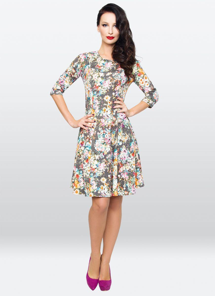 Платье жен. 32233223Элегантное платье из трикотажа, по фасон годе, с округлым вырезом горловины. Платье выполнено в эффектном цветочном рисунке. Прекрасно подойдет для любой возрастной группы.