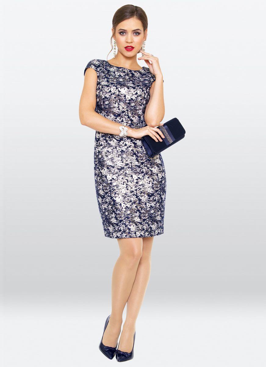 Платье жен. 38073807Нарядное платье-футляр, с округлым вырезом горловины,и коротким рукавом. Потрясающий вариант для любой модницы.