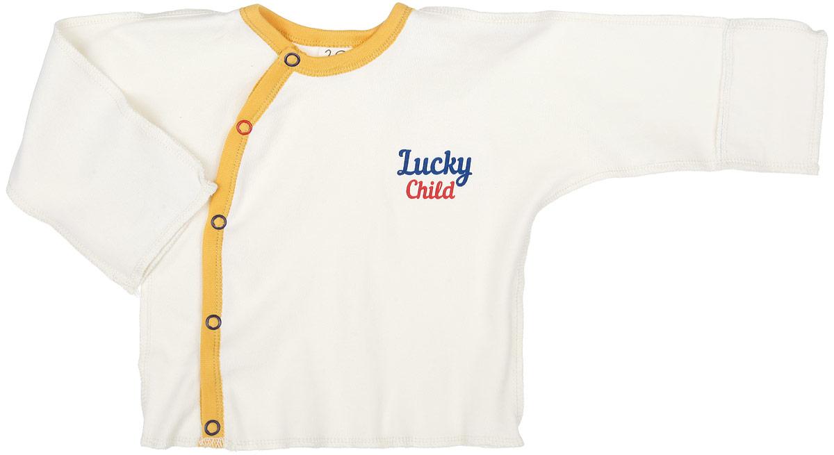 27-7Распашонка для мальчика Lucky Child Мужички послужит идеальным дополнением к гардеробу вашего крохи. Распашонка изготовлена из натурального хлопка, благодаря чему она очень мягкая и легкая, не раздражает нежную кожу ребенка и хорошо вентилируется. Распашонка с круглым вырезом горловины и длинными рукавами-кимоно выполнена швами наружу. Застегивается модель сбоку на кнопки, что помогает при переодевании малыша. Вырез горловины и планка обработаны контрастной бейкой. Рукава дополнены отворотами, которые можно использовать в качестве рукавичек, и ребенок не поцарапает себя. Распашонка оформлена термоаппликацией в виде названия бренда. Модель полностью соответствует особенностям жизни ребенка в ранний период, не стесняя и не ограничивая его в движениях. В такой распашонке малышу будет уютно и комфортно.