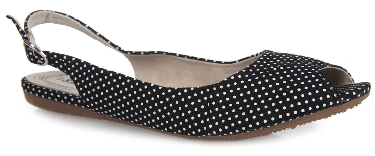 Босоножки. SM2284_01_11_BLACKSM2284_01_11_BLACKСтильные босоножки от Spur займут достойное место среди вашей коллекции летней обуви. Модель выполнена из текстильного материала, оформленного принтом горох. Открытый носок и задник обеспечивают дополнительную вентиляцию, позволяют ногам дышать. Ремешок с металлической пряжкой отвечает за надежную фиксацию модели на ноге. Длина ремешка регулируется за счет болта. Стелька из натуральной кожи, дополненная перфорацией, гарантирует комфорт при ходьбе. Подошва оснащена рифлением для лучшего сцепления с поверхностями. Прелестные босоножки очаруют вас своим дизайном с первого взгляда.