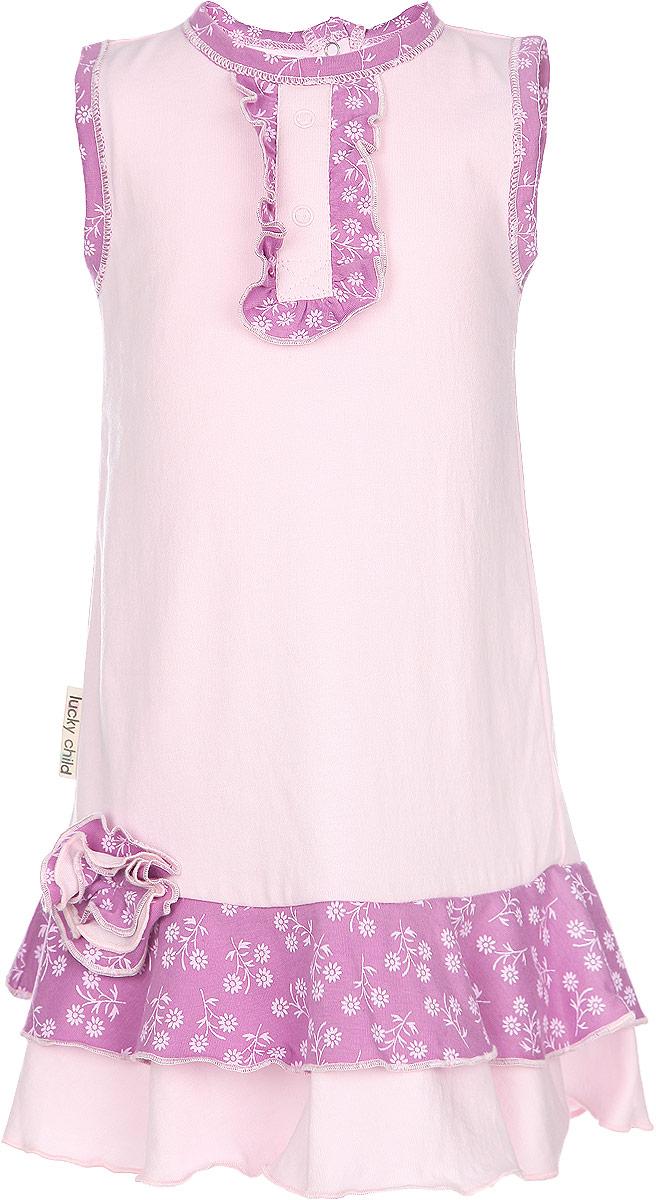 Платье для девочки Цветочки. 11-6111-61Стильное платье для девочки Lucky Child идеально подойдет вашей маленькой моднице. Изготовленное из натурального хлопка, оно мягкое и приятное на ощупь, не сковывает движения и позволяет коже дышать, не раздражает даже самую нежную и чувствительную кожу ребенка, обеспечивая наибольший комфорт. Модель застегивается на спинке на кнопки. Платье оформлено контрастными вставками и оборочками, которые придают ему легкость и шарм. Современный дизайн и модная расцветка делают это платье незаменимым предметом детского гардероба. В нем вашей маленькой леди будет комфортно и уютно, и она всегда будет в центре внимания!