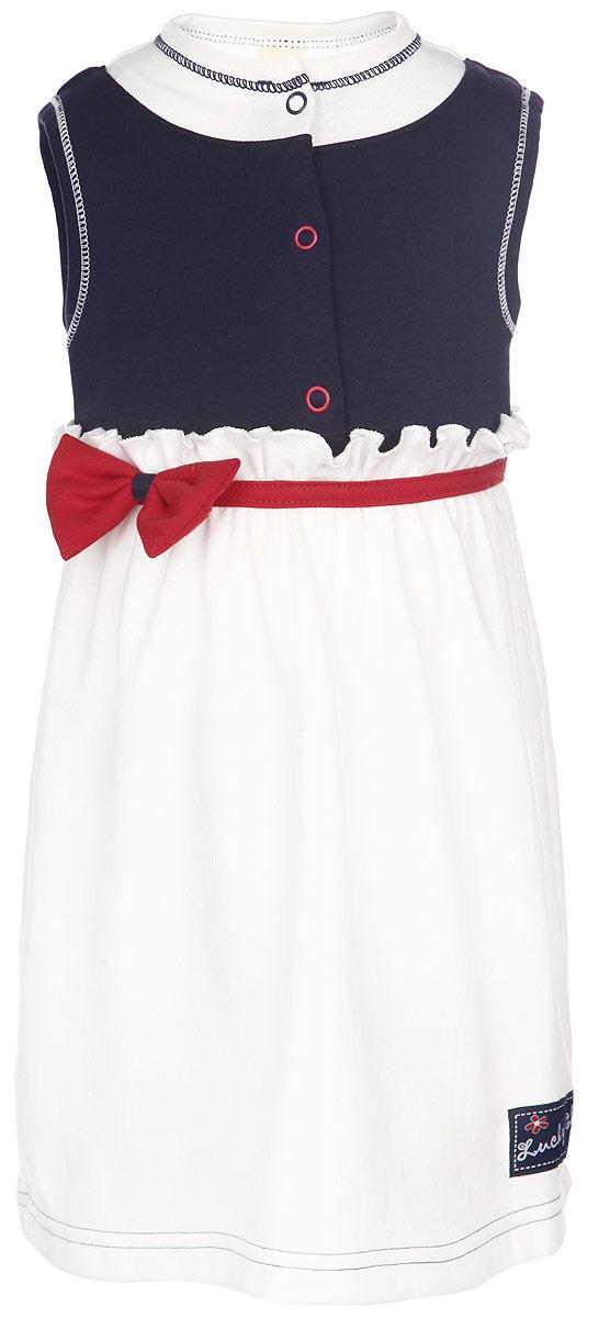 Платье18-62Платье для девочки Lucky Child послужит идеальным дополнением к гардеробу вашей малышки, обеспечивая ей наибольший комфорт. Изготовленное из натурального хлопка, оно необычайно мягкое и легкое, не раздражает нежную кожу ребенка и хорошо вентилируется, а эластичные швы приятны телу ребенка и не препятствуют его движениям. Платье без рукавов и круглым вырезом горловины имеет кнопки на грудке, которые позволяют без труда переодеть малышку. Модель оформлена декоративным контрастным поясом с объемным трикотажным бантиком. Низ платья дополнен нашивкой с логотипом бренда. Платье полностью соответствует особенностям жизни ребенка в ранний период, не стесняя и не ограничивая его в движениях.