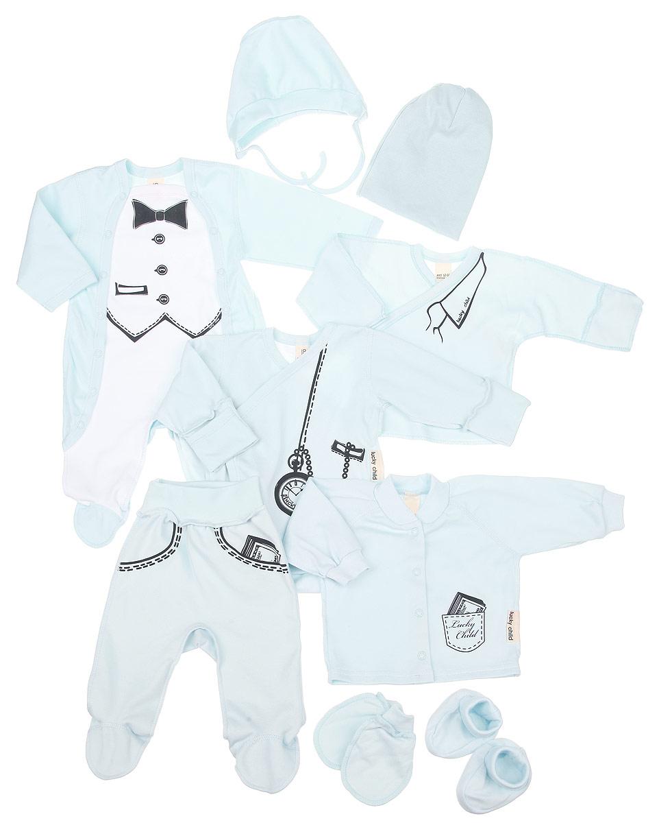 Комплект одежды3-1000Очаровательный комплект для мальчика Lucky Child Big Boss, состоящий из кофточки, комбинезона, распашонки-кимоно, ползунков, боди-кимоно, рукавичек, шапочки, чепчика и пинеток, идеально подойдет вашему малышу. Изготовленный из натурального хлопка, он необычайно мягкий и приятный на ощупь, не сковывает движения ребенка и позволяет коже дышать, не раздражает даже самую нежную и чувствительную кожу малыша, обеспечивая наибольший комфорт. Все предметы одежды имеют комфортные плоские швы, приятные к телу. Кофточка с круглым вырезом горловины и длинными рукавами-реглан застегивается на практичные застежки-кнопки, которые позволяют с легкостью переодеть младенца. Вырез горловины дополнен трикотажной эластичной резинкой. На рукавах предусмотрены мягкие манжеты. Кофточка оформлена принтом в виде кармана с банкнотами. Ползунки с закрытыми ножками имеют широкий эластичный пояс, не сдавливающий животик ребенка. Изделие оформлено принтом. Комбинезон с...