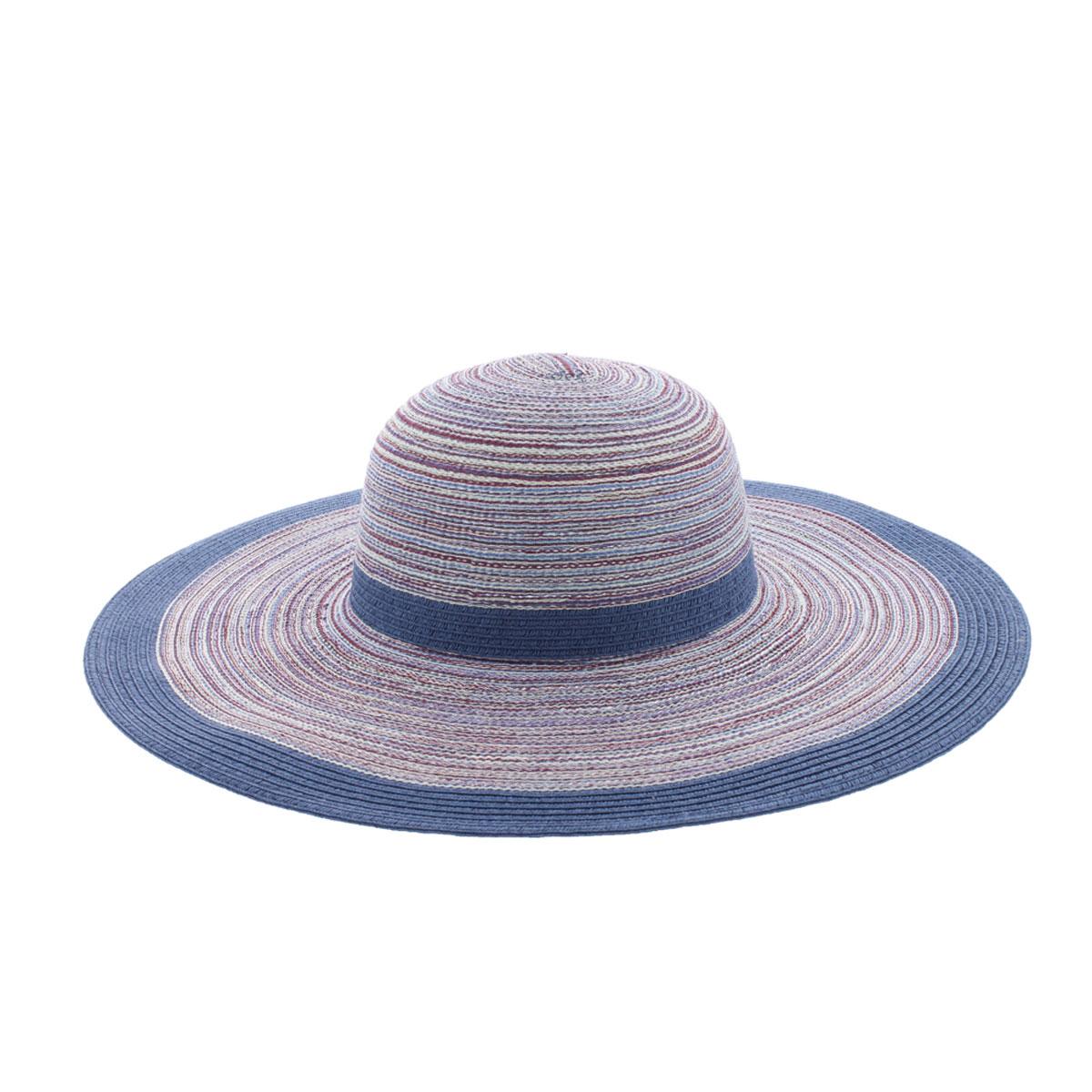 Шляпа жен. 77-126-0677-126-06-58Восхитительная яркая шляпа с широкими полями. Сплетена таким образом, что темно-синие контрастные нити создают вид опоясывающих шляпу лент - вокруг тульи и по краям полей. Хороший выбор для прогулок по пляжу и летнему городу.