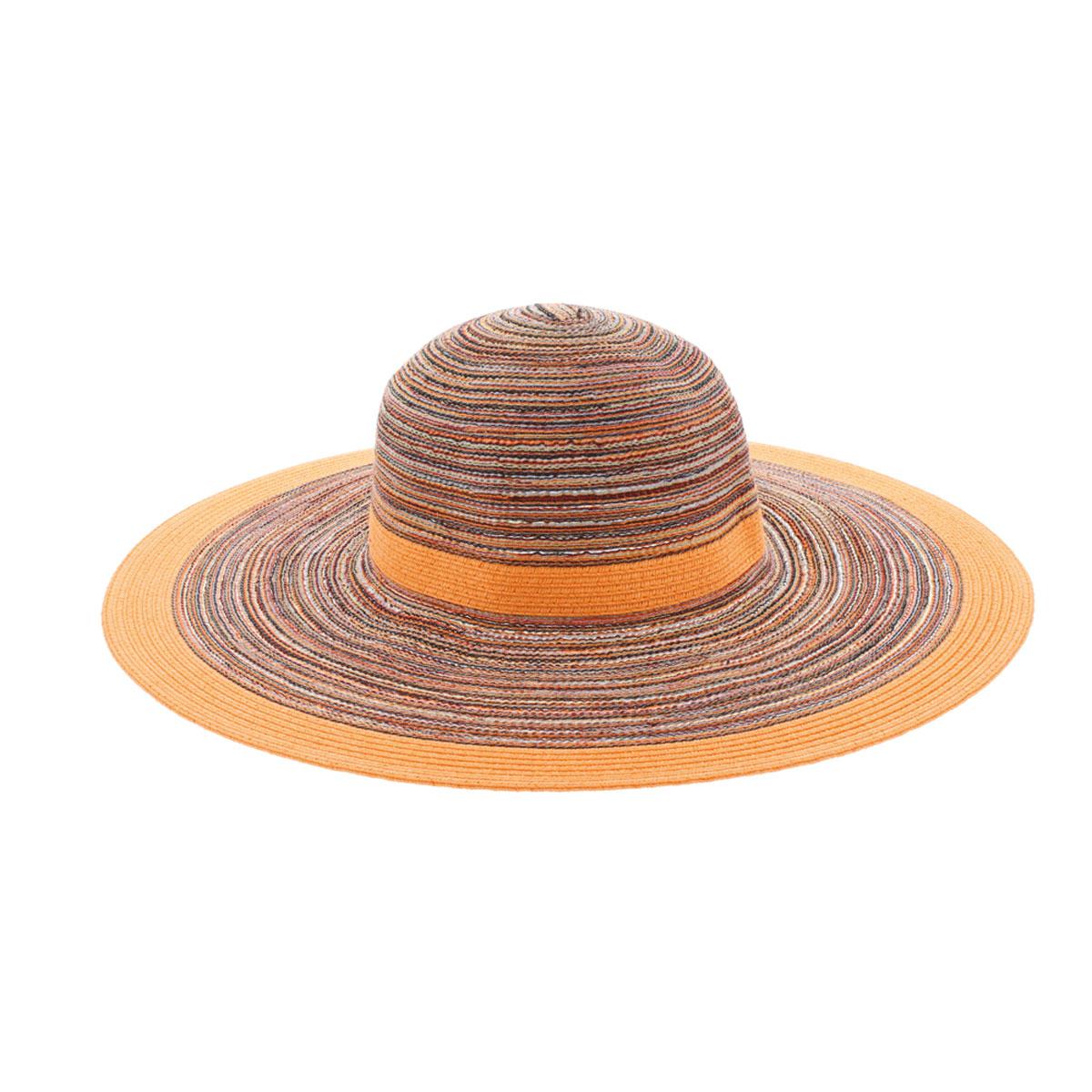 Шляпа77-126-13-56Восхитительная яркая шляпа с широкими полями R.Mountain Lisbeth, выполненная из хлопка с добавлением полиэстера,сплетена таким образом, что контрастные нити создают вид опоясывающих шляпу лент - вокруг тульи и по краям полей. Шляпа оформлена небольшим металлическим логотипом фирмы. Благодаря своей форме, шляпа удобно садится по голове и подойдет к любому стилю. Шляпа легко восстанавливает свою форму после сжатия. Хороший выбор для прогулок по пляжу и летнему городу.