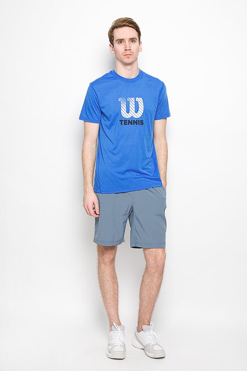 ФутболкаWRA731602Стильная мужская футболка для тенниса Wilson Graphic Tech, выполненная из полиэстера, обладает высокой теплопроводностью, воздухопроницаемостью и гигроскопичностью и великолепно отводит влагу, оставляя тело сухим даже во время интенсивных тренировок. Модель с короткими рукавами и круглым вырезом горловины - идеальный вариант для занятий спортом. Эта футболка обеспечит свободу движений. Оформлена оригинальной принтовой надписью. Такая футболка превосходно подойдет для занятий спортом и активного отдыха.