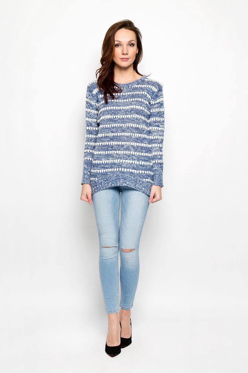 ПуловерL-SW-2005_D.BLUEСтильный женский пуловер Moodo изготовленный из высококачественной акриловой пряжи, не сковывает движения, обеспечивая наибольший комфорт. Модель с круглым вырезом горловины и длинными рукавами великолепно сидит. Низ, манжеты и вырез горловины пуловера связаны резинкой. Спинка немного удлинена. Пуловер крупной вязки поможет вам создать стильный современный образ в стиле Casual. Этот теплый и комфортный пуловер станет отличным дополнением к вашему гардеробу. В нем вы всегда будете чувствовать себя уютно в прохладное время года.