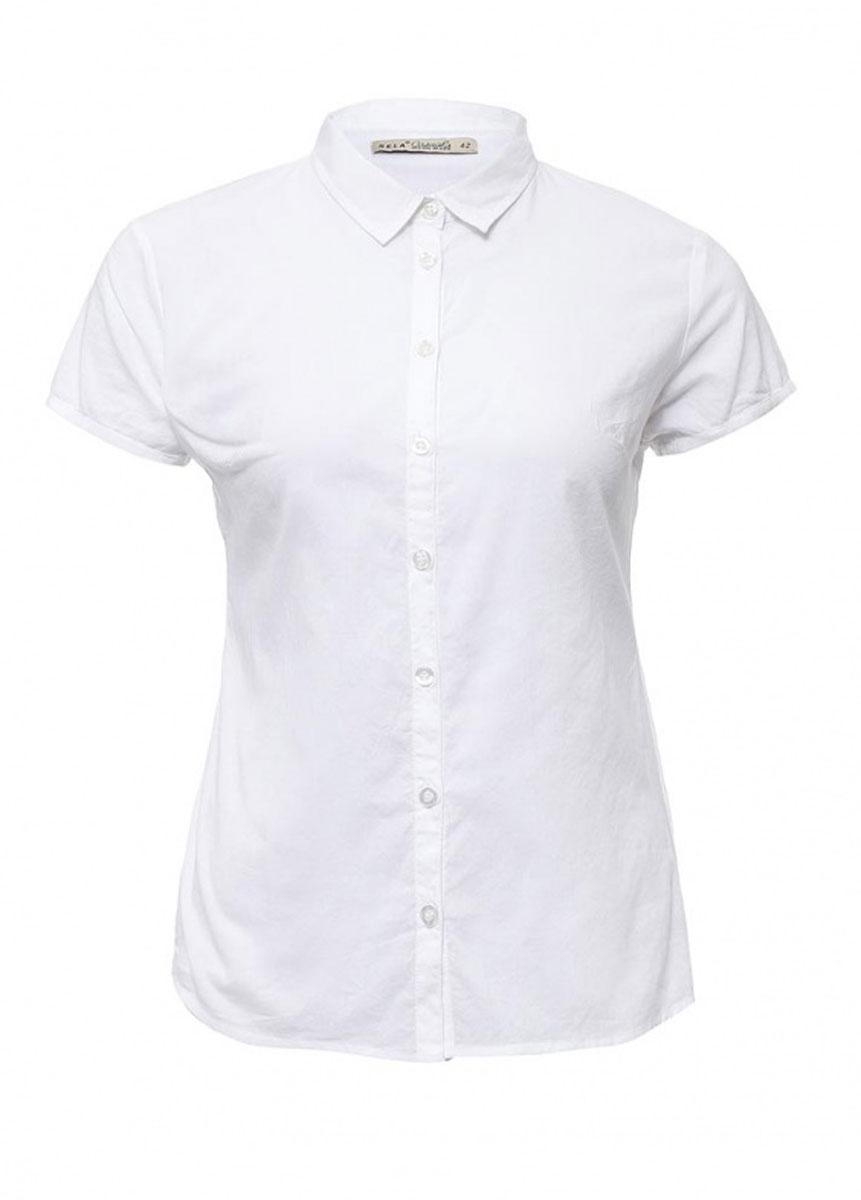 Блузка женская Casual. Bs-112/717-6236Bs-112/717-6236Стильная женская блузка Sela Casual, выполненная из натурального хлопка, подчеркнет ваш уникальный стиль и поможет создать оригинальный женственный образ. Модель приталенного кроя с короткими рукавами и отложным воротником застегивается по всей длине на пуговицы. Низ изделия слегка закруглен к боковым швам. Легкая блуза идеально подойдет для жарких летних дней. Она будет дарить вам комфорт в течение всего дня и послужит замечательным дополнением к вашему гардеробу.