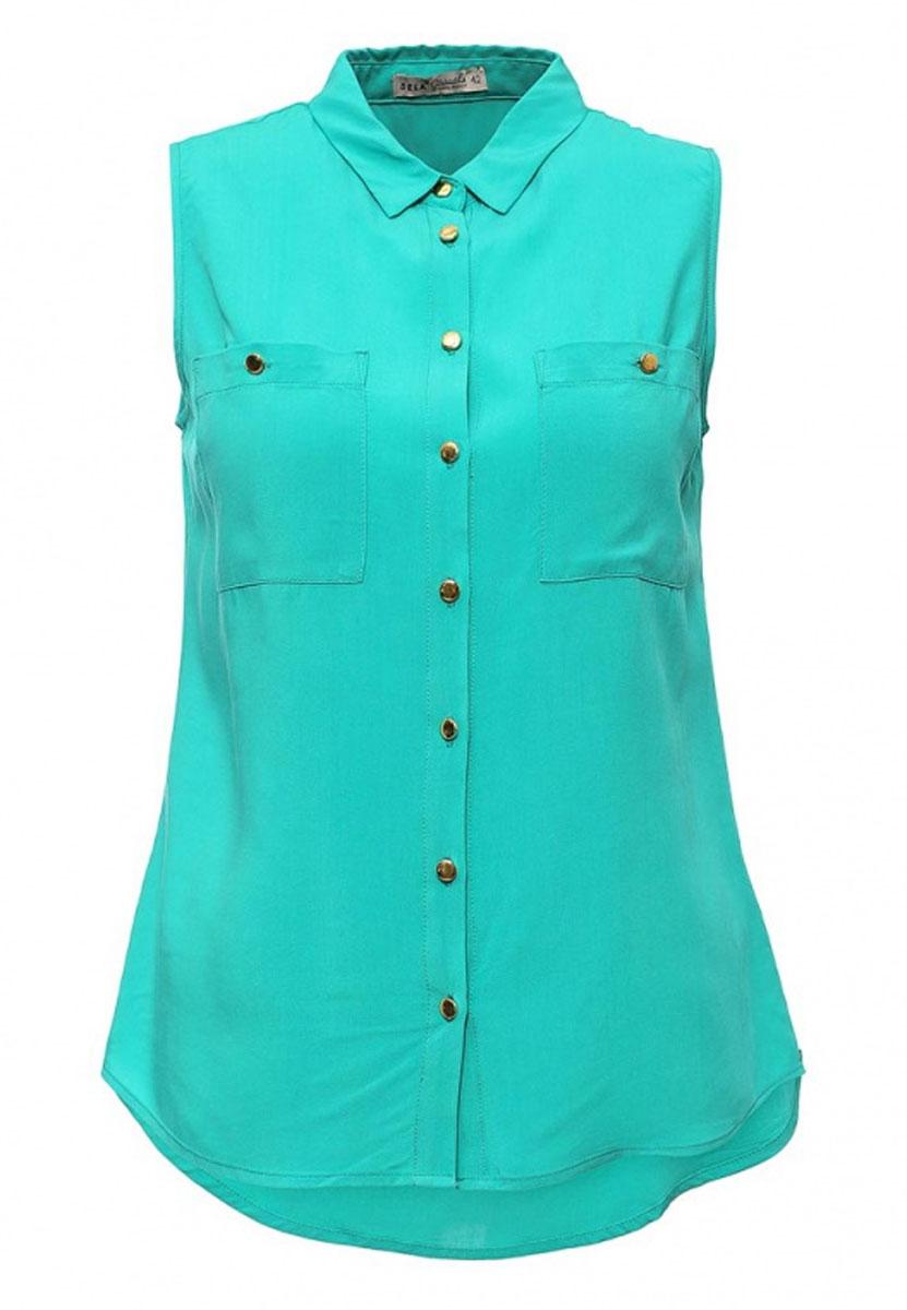 Блузка женская Casual. Bsl-112/1029-6236Bsl-112/1029-6236Стильная женская блузка Sela Casual, выполненная из 100% вискозы, подчеркнет ваш уникальный стиль и поможет создать оригинальный женственный образ. Модель приталенного кроя без рукавов с отложным воротником застегивается по всей длине на пуговицы. На груди блузка дополнена двумя накладными карманами на пуговицах. Низ изделия закруглен к боковым швам. Спинка модели немного удлинена. Легкая блуза идеально подойдет для жарких летних дней. Она будет дарить вам комфорт в течение всего дня и послужит замечательным дополнением к вашему гардеробу.