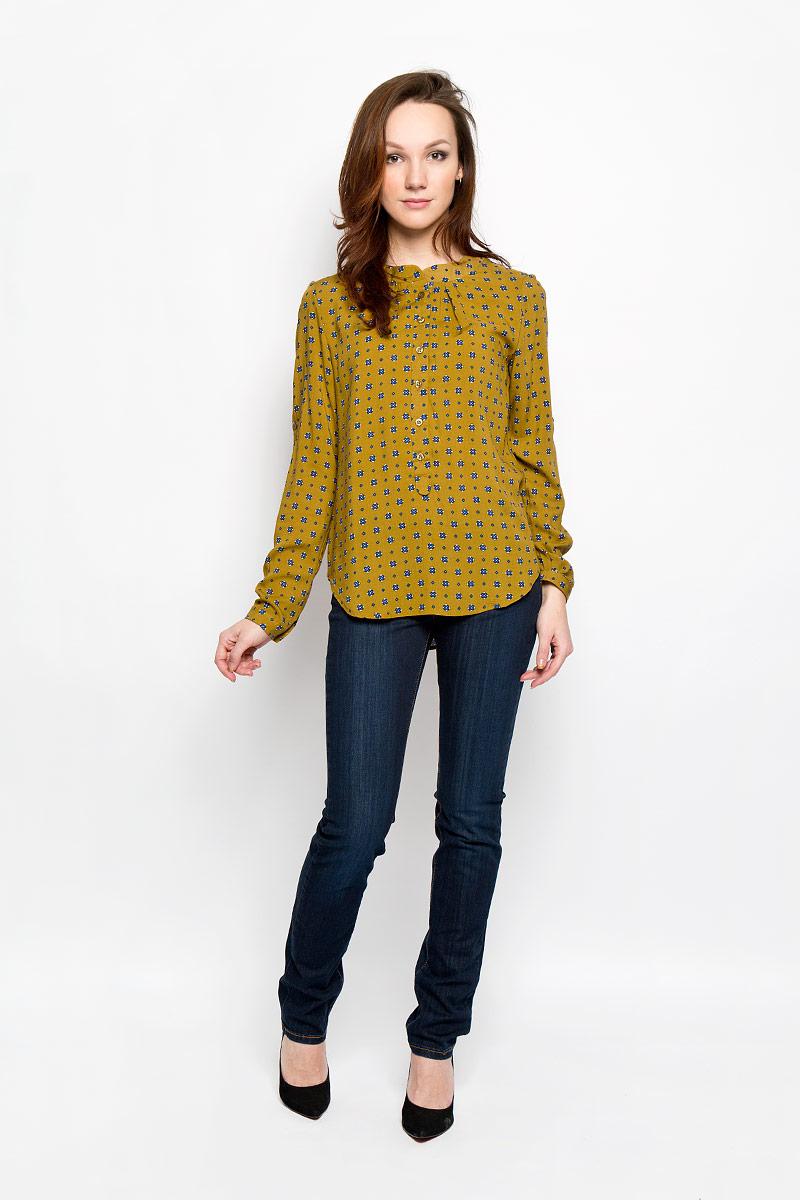 Блузка160112_17329, Rayon, mustardСтильная женская блуза F5, выполненная из 100% вискозы, подчеркнет ваш уникальный стиль и поможет создать оригинальный женственный образ. Блузка с круглым вырезом горловины и длинными рукавами спереди и сзади оформлена складками. Манжеты рукавов застегиваются на пуговицы. Модель оформлена оригинальным принтом и идеально подойдет для жарких летних дней. Такая блузка будет дарить вам комфорт в течение всего дня и послужит замечательным дополнением к вашему гардеробу.