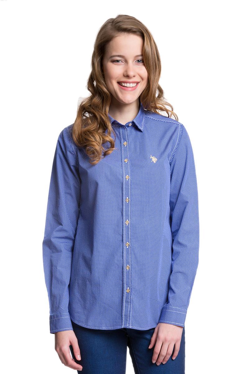 РубашкаG082GL004HELGABEATGL_VR033Женская рубашка U.S. Polo Assn. выполнена из натурального хлопка. Модель с отложным воротником и длинными рукавами застегивается спереди на пуговицы по всей длине. На манжетах предусмотрены застежки- пуговицы. Рубашка оформлена принтом в мелкий горох, украшена вышитым логотипом бренда.