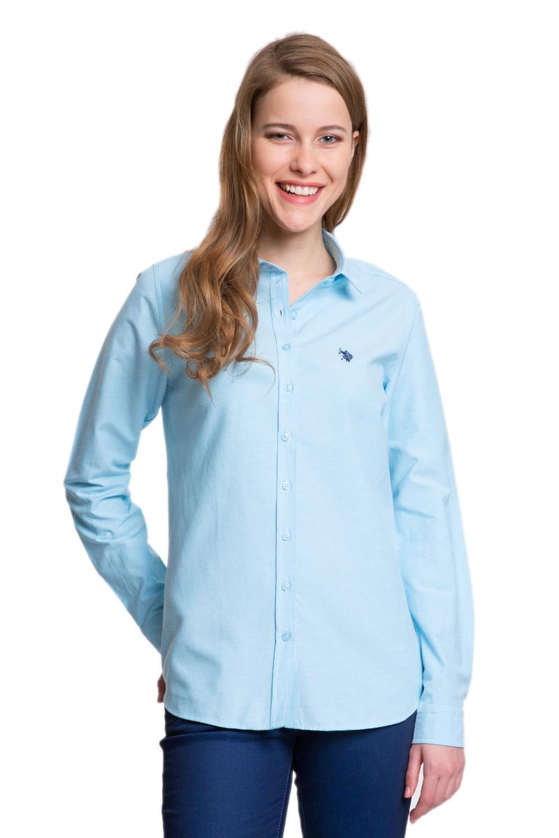 G082GL004HELGAWOX_VR003Женская рубашка U.S. Polo Assn. выполнена из высококачественного материала. Модель с отложным воротником и длинными рукавами застегивается спереди на пуговицы по всей длине. На манжетах предусмотрены застежки- пуговицы. Рубашка украшена вышитым логотипом бренда.