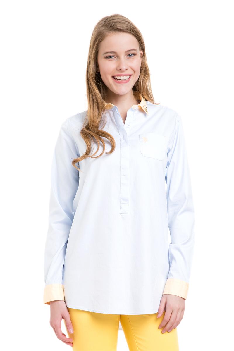 РубашкаG082SZ004TALLMARISSA_VR003Женская рубашка U.S. Polo Assn. выполнена из натурального хлопка. Модель с отложным воротником и длинными рукавами застегивается спереди на пуговицы, которые скрыты за планкой. Воротник украшен декоративными элементами. На манжетах предусмотрены застежки-пуговицы. На груди рубашка дополнена накладным карманом. Спинка изделия немного удлинена.