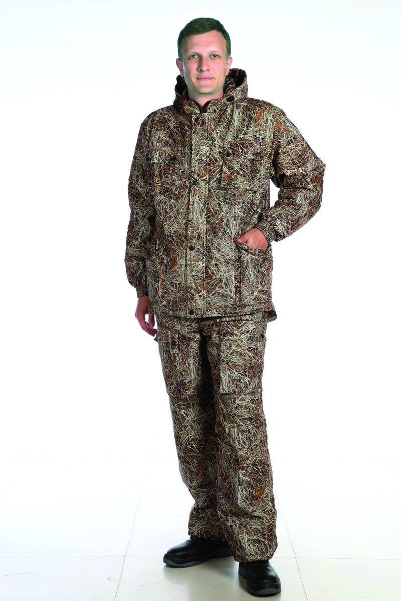 Костюм рыболовный мужской. 57735773Демисезонный костюм. Капюшон с регулировкой лицевой части по высоте резиновым шнуром. Центральная застежка на двухзамковую фронтальную молнию, закрытую ветрозащитной планкой на кнопках. По линии талии куртки кулиса с регулировкой по ширине резиновым шнуром. Низ брюк с регулировкой по ширине резиновым шнуром. Количество карманов - 11.